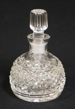 WATERFORD CRYSTAL PERFUME BOTTLE WITH STOPPER. 4 1/2 INCHES TALL.