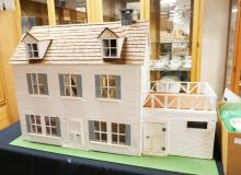2 STORY DOLL HOUSE WIRED FOR LIGHTING. 45 IN X 17 IN, 31 1/2 IN H
