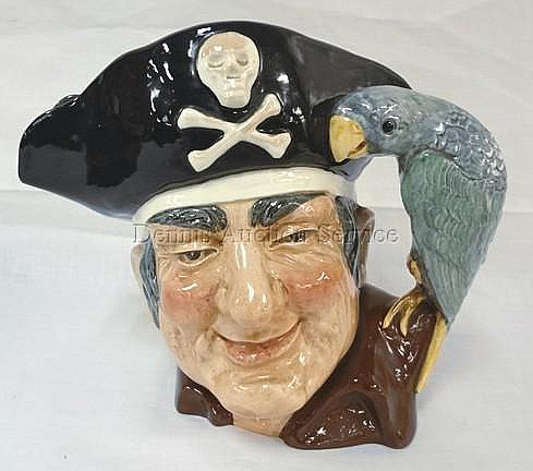 ROYAL DOULTON LARGE TOBY, LONG JOHN SILVER; 7 IN H