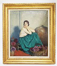 WILLIAM ALBERT ABLETT (PARIS. 1877-1937) OIL PAINTING ON CANVAS OF A SEATED WOMAN WITH FLOWERS. 20 1/2 X 25 INCHES.