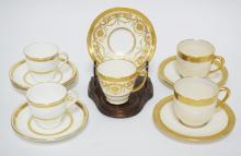 5 CUP AND SAUCER SETS WITH GOLD DECORATION. ALL MADE FOR TIFFANY & CO. MAKERS INCLUDE 2 GREEN MARK LENOX AND 3 BY MINTONS. (ONE EXTRA MINTONS SAUCER).