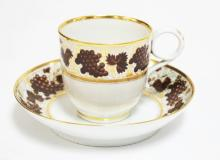 BARR WORCESTER PORCELAIN CUP & SAUCER WITH FINE HAND PAINTED DECORATION. INCISED *B* MARK.