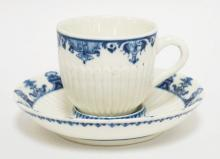 18TH CENTURY ST CLOUD FRENCH TREMBLEUSE CUP & SAUCER IN BLUE & WHITE. 5 3/8 INCH DIA SAUCER.