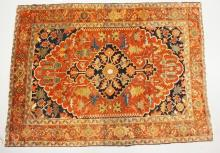 ANTIQUE HAND WOVEN ORIENTAL RUG. 4 FT 9 X 6 FT 5 INCHES.