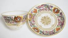 SEVRES PORCELAIN CUP AND SAUCER AFTER THE SET ORDERED BY KING  LOUIS PHILIPPE. HAS THE MARK OF CHATEAU DE  FONTAINEBLEAU. 5 3/8 INCH SAUCER. 2 INCH HIGH CUP.