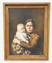C. GLASSER OIL PAINTING ON ARTIST BOARD OF A MOTHER AND CHILD. 12 X 16 INCHES. SIGNED LOWER RIGHT.