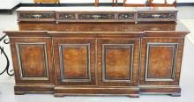 DREXEL HERITAGE SIDEBOARD WITH 4 DOORS ON THE BASE AND A 5 DRAWER UNIT THAT SITS ON THE TOP HAVING CHINOISERIE DECORATED DRAWER FRONTS. 78 INCHES IWDE. 37 1/2 INCHES HIGH.