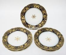 SET OF 6 GUERIN LIMOGES 8 1/2 IN PLATES WITH COBALT BLUE AND GOLD TRIM