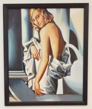 OIL ON CANVAS OF A NUDE WOMAN DRAPED WITH A SHEET. IN THE MANNER OF TAMARA DE LEMPICKA. 31 1/2 X 39 IN.