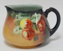 GUERIN LIMOGES CIDER PITCHER W/ FRUIT. ARTIST SIGNED J.M.O. 6 1/2 IN H