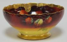 PICKARD/ TV LIMOGES HAND PAINTED BOWL W/ STRAWBERERIES ARTIST SIGNED E. CHALLINOR. 9 1/4 IN DIA, 4 1/2 IN H