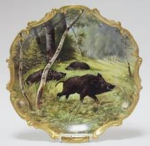 HANMD PAINTED LIMOGE WALL PLATE W/ WILD BOAR IN THE FOREST. MAISON LONDE, ABEL GOLSE LIMOGES, VICTOR HUGO. 15 1/2 IN DIA. ALSO ARTIST SIGNED GOLSE