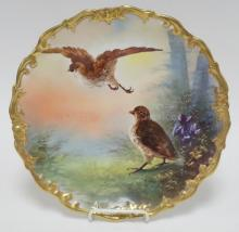 LS&S LIMOGES WALL PLATE W/ GAME BIRDS. ARTIST SIGNED. 12 1/2 IN