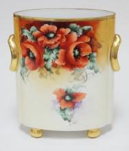 BAVARIAN HAND PAINTED OVAL VASE W/ RING HANDLES AND BALL FEET. 9 1/2 IN H
