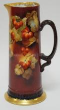 JEAN POUYAT LIMOGES TANKARD PITCHER W/ RED BERRIES. 13 1/2 IN H