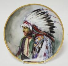HAND PAINTED HAVILAND LIMOGES PLATE W/ AMERICAN INDIAN CHIEF. ARTIST SIGNED. 9 1/4 IN