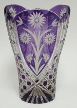 AMETHYST CUT TO CLEAR LARGE VASE. POLISHED BASE. 11 IN H, 7 1/2 IN TOP DIA