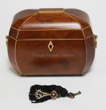 INLAID WOODEN JEWELRY BOX WITH BRASS HANDLES AND FEET. HAS KEY. 8 1/4 IN X 5 IN, 6 IN H