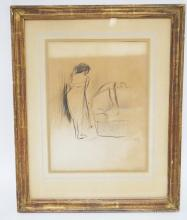 JEAN LOUIS FORAIN FRAMED PRINT TITLED *TIRED LOVER*. 9 1/4 IN X 12 1/2 IN. HAS DISCOLORATION