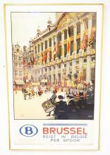 COLORFUL FRAMED BRUSSEL POSTER BY FRED TAYLOR. 1939. 23 5/8 IN X 38 3/4 IN