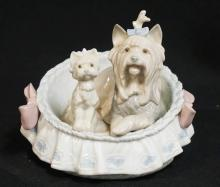 LLADRO *OUR COZY HOME* DOG AND PUPPY IN A BASKET. 4 3/4 IN H