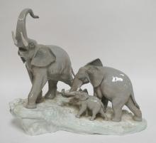 LARGE LLADRO *WALKING ELEPHANTS*  TUSKS ON LARGEST ELEPHANT ARE REPAIRED AND ONE IS CHIPPED. 14 1/2 IN H, 16 IN LONG