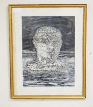 PETER PASUNTINO (1936-) PENCIL SIGNED & NUMBERED LITHO TITLED *BEBEL HEAD*. #8/50. 23 3/4 X 7 5/8 INCHES.