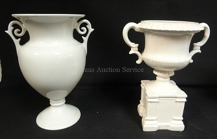 2 PC WHITE PORCELAIN; LIMOGES 7 5/8 IN VASE & A MOTTEHEDEH URN