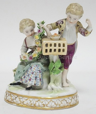 19TH C. PORCELAIN FIGURE GROUP; BOY & GIRL