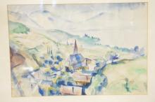 WATERCOLOR OF A CONTINENTAL VILLAGE NEAR MOUTAINS AND WATER. 17 X 11 1/2 IN. SIGNED AND DATED 1925.