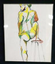 PAINTING OF A NUDE MAN. 12 X 17 IN. ARTIST SIGNED AND DATED 1976