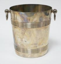 CHRISTOFLE SILVER PLATED ICE BUCKET. 8 1/4 IN TALL.