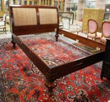 GRANGE FRENCH COUNTRY SLEIGH BED WITH A 51 1/2 IN TALL HEADBOARD WITH WICKER PANELS. QUEEN SIZE. 91 IN LONG, 68 IN WIDE.