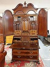 CARVED MAHOGANY BALL & CLAW FOOT SECRETARY; BANDED