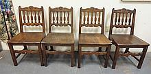 SET OF 4 CARVED CHAIRS W/FLAT SPINDLE BACKS & CUT