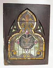 ARCH TOP COLORFUL STAINED GLASS WINDOW; WITH