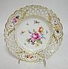 HAND PAINTED MEISSEN FLORAL PLATE W/OPEN LATTICE