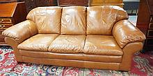 BROWN LEATHER SOFA; 87 IN WIDE