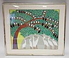 CHARACTER SIGNED FRAMED PRINT W/CRANES & BIRDS IN