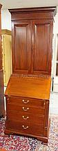 NARROW MAHOGANY 2 PC SECRETARY W/SLANT FRONT 4