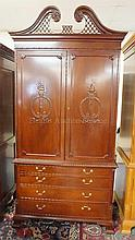 2 PC MAHOGANY ENTERTAINMENT CENTER W/BRACKET FEET;