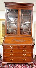 MAHOGANY SLANT FRONT 2 PC SECRETARY 2/2 GLASS DOOR