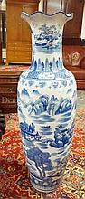BLUE & WHITE ORIENTAL FLOOR VASE; 47 IN H