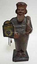 CARVED & PAINT DECORATED GERMAN SANTA CLAUS CLOCK;