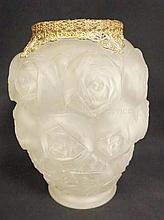 FROSTED GLASS VASE W/DEEPLY EMBOSSED ROSE BLOSSOMS