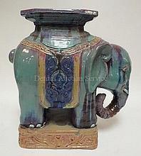 ELEPHANT GARDEN SEAT; BLUE GLAZE; 19 IN L, 19 3/4