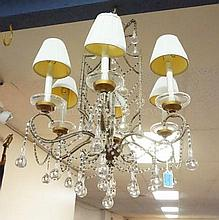 6 LIGHT CRYSTAL CHANDELIER W/TEADROP PRISMS &