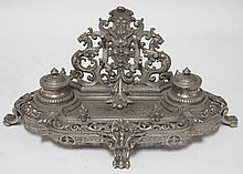 CAST IRON VICTORIAN DOUBLE INKWELL; GLASS INSERTS