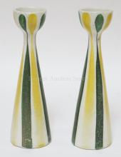 PAIR OF FRANK MANN MIDCENTURY MODERN GREEN & YELLOW STRIPED VASES. 9 1/2 IN