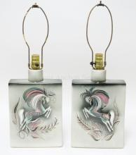 PAIR OF SASCHA BRASTOFF CERAMIC LAMPS WITH HORSES. 12 1/2 IN TALL TO TOP OF POTTERY, 8 1/4 IN WIDE, 3 IN DEEP.